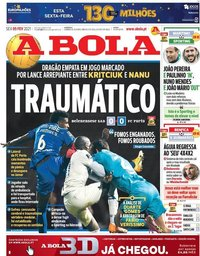 capa Jornal A Bola de 5 fevereiro 2021