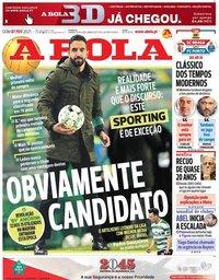 capa Jornal A Bola de 7 fevereiro 2021