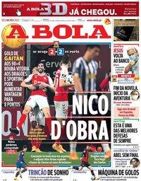 capa Jornal A Bola de 8 fevereiro 2021