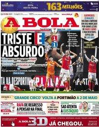 capa Jornal A Bola de 11 fevereiro 2021
