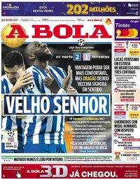 capa Jornal A Bola de 18 fevereiro 2021