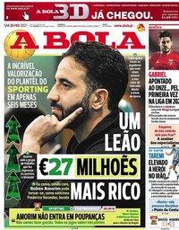capa Jornal A Bola de 20 fevereiro 2021