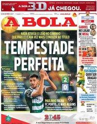 capa Jornal A Bola de 21 fevereiro 2021