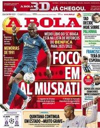 capa Jornal A Bola de 24 fevereiro 2021
