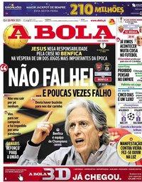 capa Jornal A Bola de 25 fevereiro 2021