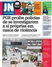 capa Jornal de Notícias de 1 fevereiro 2021