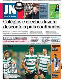 capa Jornal de Notícias de 2 fevereiro 2021