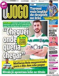 capa Jornal O Jogo de 3 fevereiro 2021