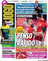 capa Jornal O Jogo de 9 fevereiro 2021