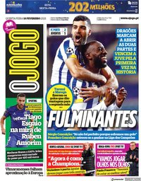 capa Jornal O Jogo de 18 fevereiro 2021