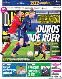 capa Jornal O Jogo de 19 fevereiro 2021