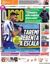 capa Jornal O Jogo de 20 fevereiro 2021