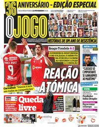 capa Jornal O Jogo de 22 fevereiro 2021