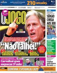 capa Jornal O Jogo de 25 fevereiro 2021