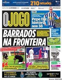 capa Jornal O Jogo de 26 fevereiro 2021