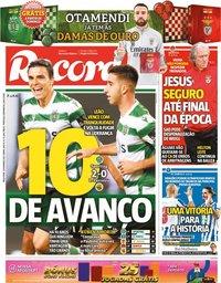capa Jornal Record de 16 fevereiro 2021