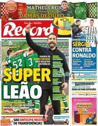 capa Jornal Record de 17 fevereiro 2021