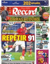 capa Jornal Record de 19 fevereiro 2021