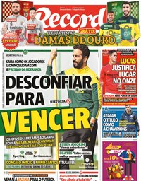 capa Jornal Record de 20 fevereiro 2021