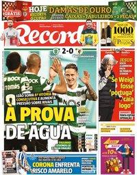 capa Jornal Record de 21 fevereiro 2021