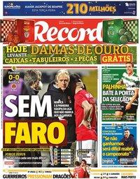 capa Jornal Record de 22 fevereiro 2021