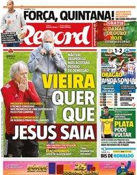 capa Jornal Record de 23 fevereiro 2021