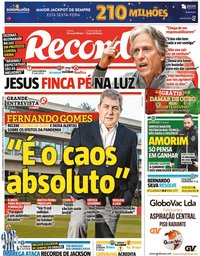 capa Jornal Record de 25 fevereiro 2021