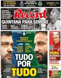 capa Jornal Record de 27 fevereiro 2021