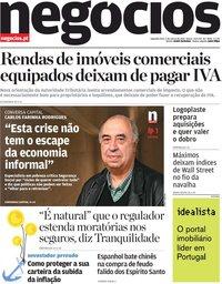 capa Jornal de Negócios de 1 março 2021