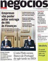 capa Jornal de Negócios de 11 março 2021