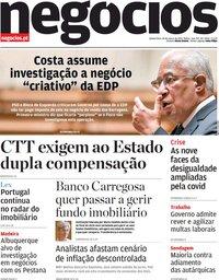 capa Jornal de Negócios de 18 março 2021