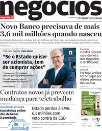capa Jornal de Negócios de 22 março 2021