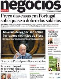 capa Jornal de Negócios de 24 março 2021