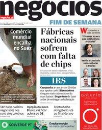 capa Jornal de Negócios de 26 março 2021