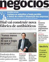 capa Jornal de Negócios de 29 março 2021