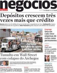 capa Jornal de Negócios de 30 março 2021
