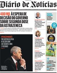capa Diário de Notícias de 9 abril 2021
