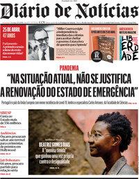 capa Diário de Notícias de 25 abril 2021
