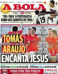 capa Jornal A Bola de 1 abril 2021
