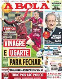 capa Jornal A Bola de 3 abril 2021