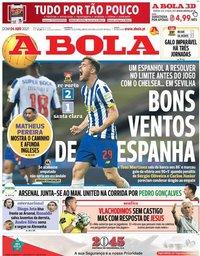 capa Jornal A Bola de 4 abril 2021