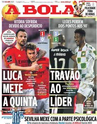 capa Jornal A Bola de 6 abril 2021