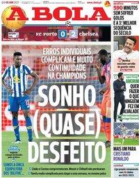 capa Jornal A Bola de 8 abril 2021