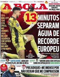capa Jornal A Bola de 9 abril 2021