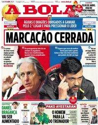 capa Jornal A Bola de 10 abril 2021