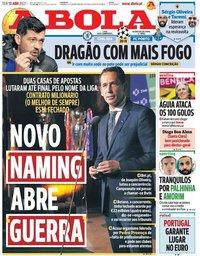 capa Jornal A Bola de 13 abril 2021