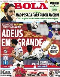 capa Jornal A Bola de 14 abril 2021