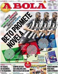 capa Jornal A Bola de 15 abril 2021
