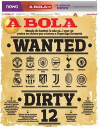 capa Jornal A Bola de 20 abril 2021