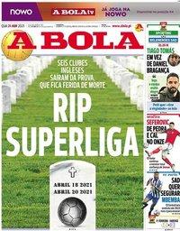capa Jornal A Bola de 21 abril 2021